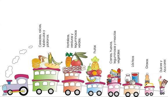 hábitos de vida saludables para niños: tren de los alimentos por orden de importancia de izquierda a derecha