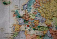 Mapa de Europa de viaje