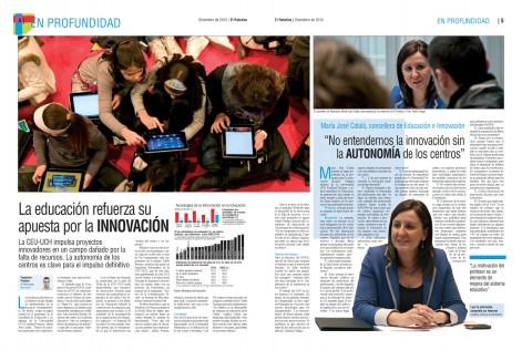 Reportaje sobre educación e innovación con una entrevista a la consellera Catalá