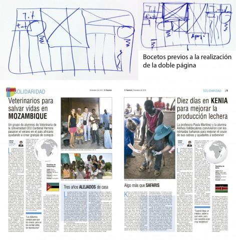 Bocetos previos y página fina sobre solidaridad