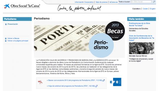 Captura de la web de la Fundación La Caixa con la convocatoria de las becas de Periodismo