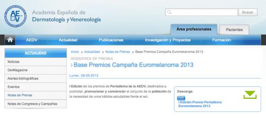 Página web de la Academia Española de Dermatología