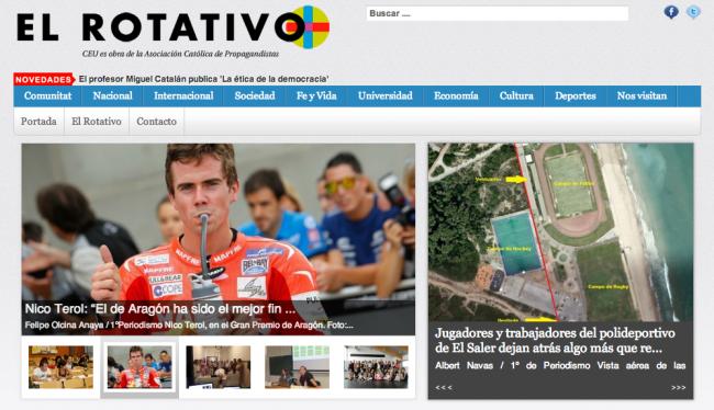 Portada de El Rotativo digital con la entrevista de Felipe Olcina, alumno de 1º de Periodismo, a Nico Terol.