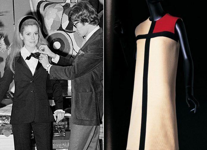A la izquierda, Yves Saint Laurent y la actriz Catherine Deneuve con el traje Le Smoking en 1966. A la derecha, el vestido Mondrian, una obra del diseñador