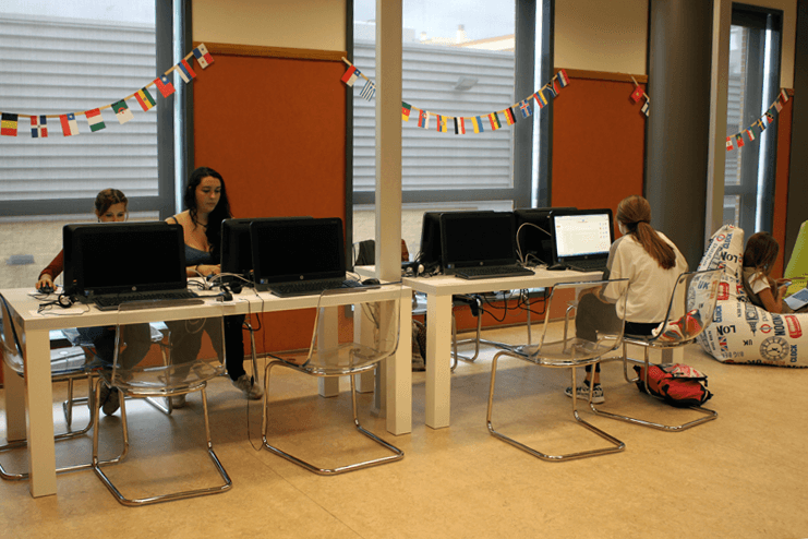 Students at work in The Hub.