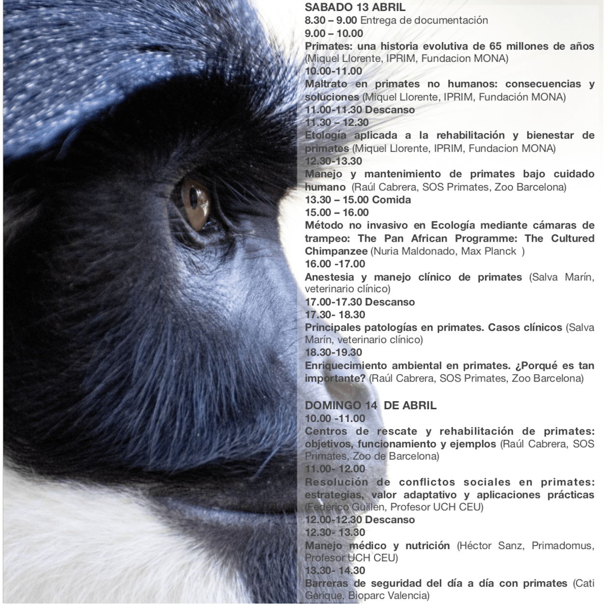 Programa científico JORNADAS DE PRIMATOLOGÍA