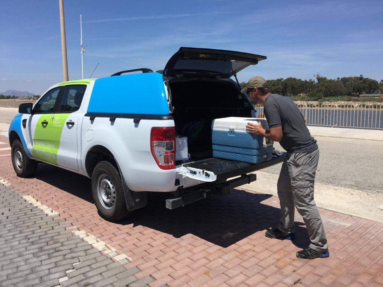 Vehículo de la UCH utilizado para las visitas a granjas de la Comunitat Valenciana
