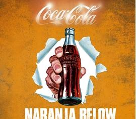 cartel publicitario naranja below