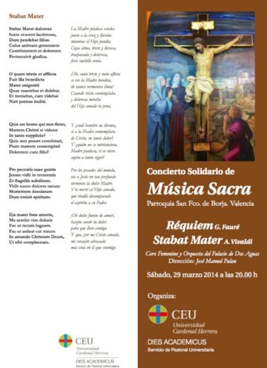 Programa de mano del Concierto Solidario de Música Sacra.